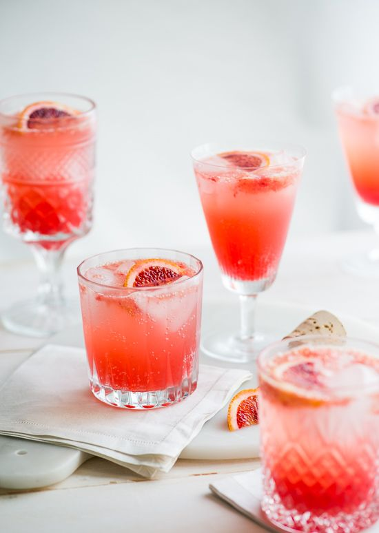 Blood Orange Gin and Tonic Cocktail Drink Recipe:
