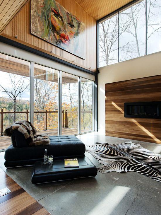Das moderne Chalet-Interieur beinhaltet viele Aspekte, die ...