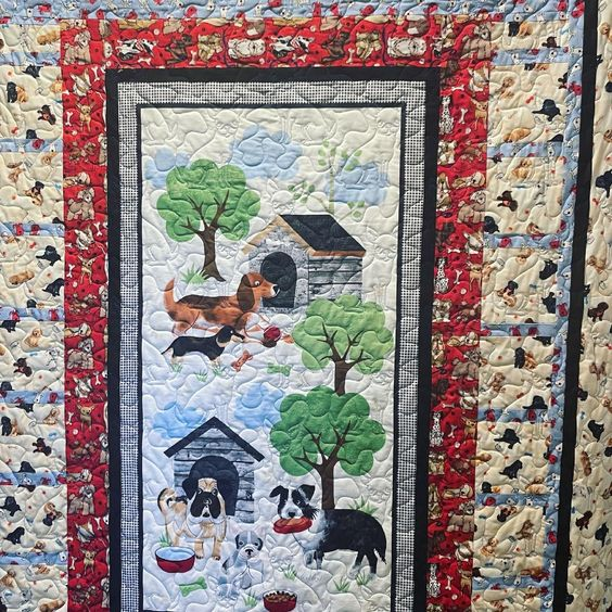 All complete in time for #internationalrescuedogday! 🐶 Finished with chihuahua quilting! #dogquilt #idahoquilter #machinequilted #machinequilting #dogfabric #doglove #madeinidaho #handiquilter #quiltersofinstagram #quiltersgonnaquilt #sewersgonnasew #quiltlove #quiltingismytherapy #quiltingismybliss #quiltersofawesome #quiltedlove #quiltfun #dogsonquilts