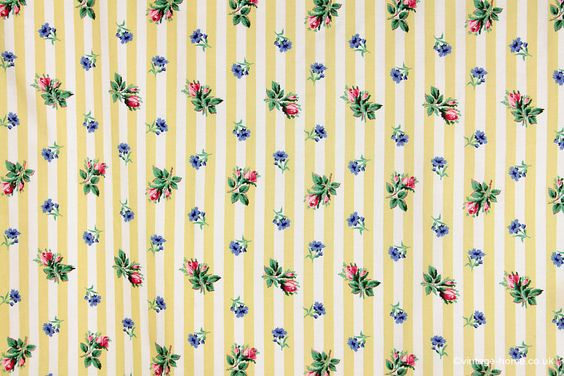 Vintage Home - Rosebud and Yellow Stripe Curtains.