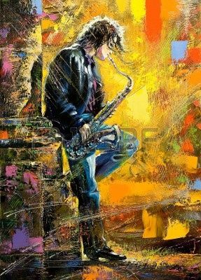 Young guy playing a saxophone ... #art: