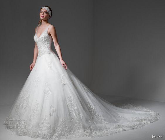 jillian 2017 bridal sleeveless v back heavily embellished bodice romantic a  line wedding dress v back royal train (madyson) mv