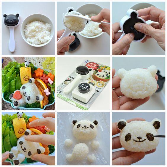 Little Miss Bento  シャリーのかわいいキャラベン: Tutorial for Panda Onigiri Set for Bento