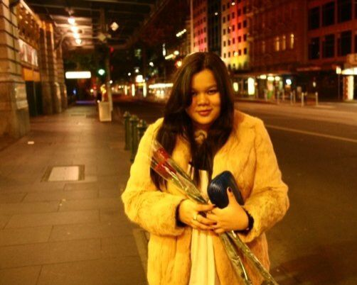 My cousine with her awesome nude fur (fake of course) --- our birthday dinner in Melbourne, 2009.