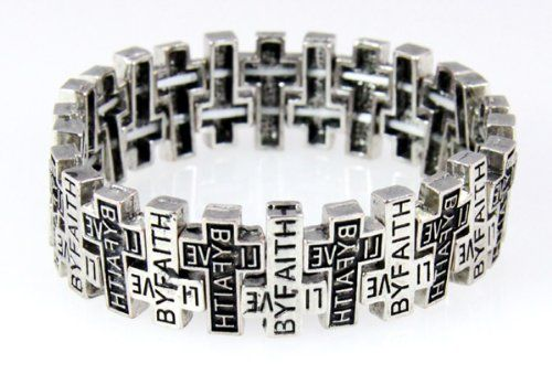 This is a beautiful Christian stretch bracelet with a sliver finish that features inter weaving Crosses with the words LIVE BY FAITH engraved into each Cross and filled with black lacquer.