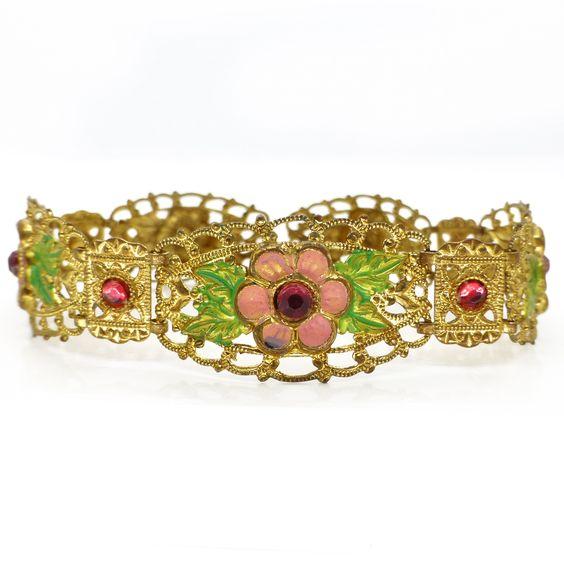 Vintage Czech Filigree Gold Tone Pin floral Ornate Metal Bracelet | Clarice Jewellery | Vintage Costume Jewellery