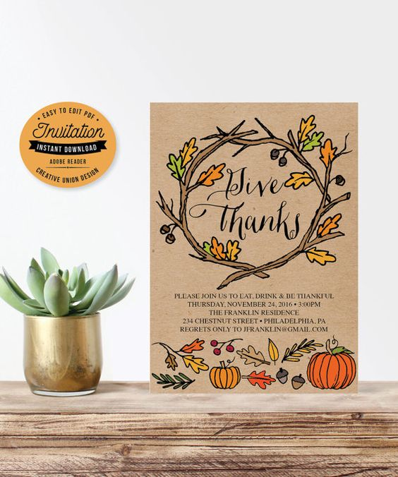 Thanksgiving Invitation by CreativeUnionDesign