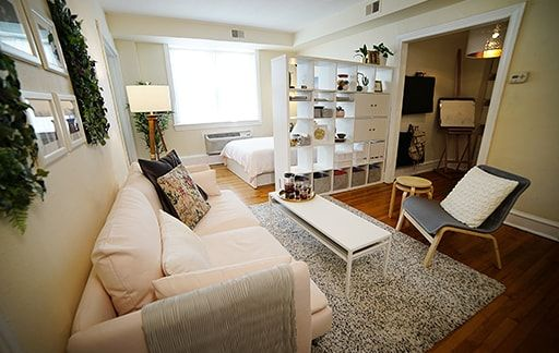 Ginelle S Studio Apartment Divided Into Separate Living Areas Using A Kallax Bookcase And Studio Apartment Living Studio Apartment Decorating Apartment Layout