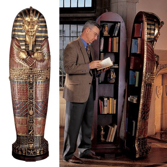 Lifesize King Tutankhamun Sarcophagus Cabinet. I may need this to put all my Egyptian books in.