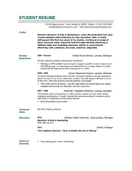 resume registered resume and student resume on