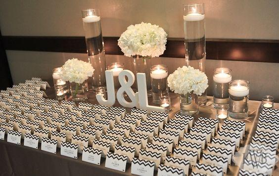Modern wedding // Day of Stationery: LMS Designs www.lmsdesignstudio.com, elegant wedding, escort card table, white hydrangeas, floating candles, gray and white chevron, monogram, place card table ideas