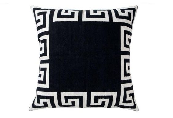 .black and white greek key pillow. HELL-O