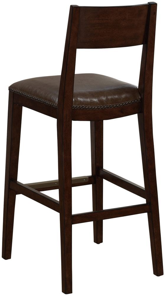 Modern Bonded Leather Wood Bar Stool Bar Height Armless W Footrest Furniture Harlan Modernandcontemporary Wood Bar Stools Bar Stools Foot Rest