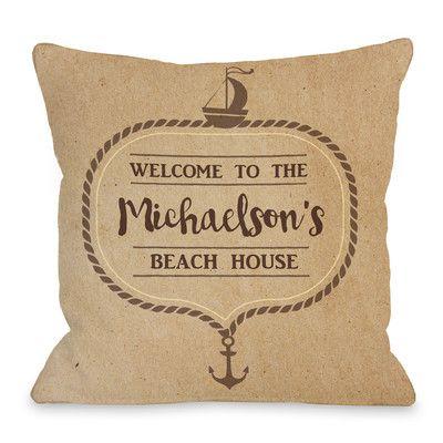 One Bella Casa Personalized Family Beachhouse Rope Throw Pillow Size: 1