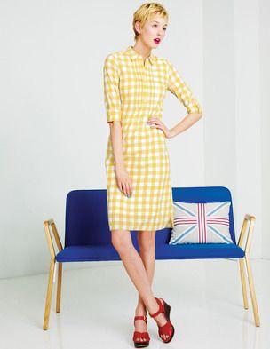 Yellow gingham dress shirt