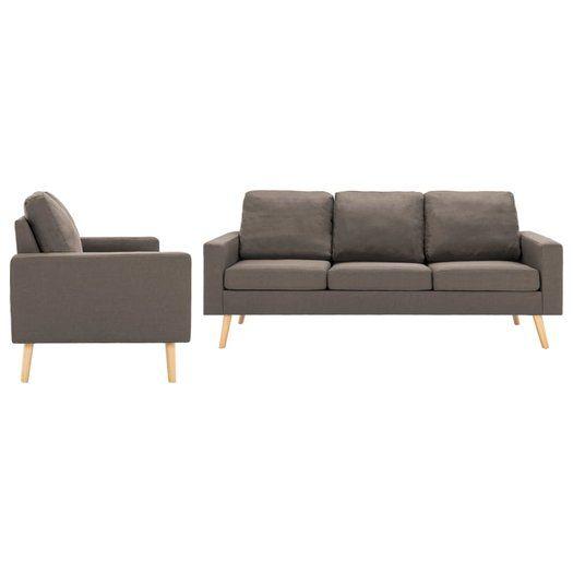 2 Delig Bankstel Stof Taupe Conjunto De Sofa Mobiliario De Casa Sofas E Poltronas