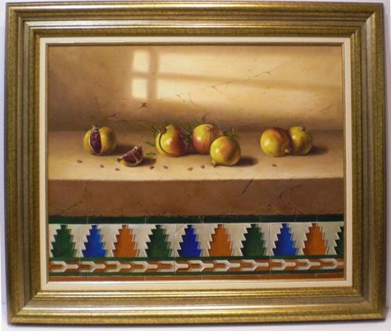 Carbonells : Pomegranates. Medium: Oil on canvas Measurements (cm): 104x88 Canvas measurements (cm): 81x65 Interior frame: Yes. Magnificent still life which stands out for its marvellous composition as well as they play of colours displayed by the artist, a specialist in this type of subject which he handles to perfection.The different elements are painted in detail with a close brushstroke, as we are used to from this artist.Stylish frame of great quality.  $1,803.71