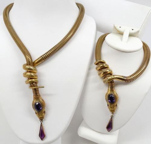 Rare Antique Art Deco Egyptian Revival Snake Necklace & Bracelet ...