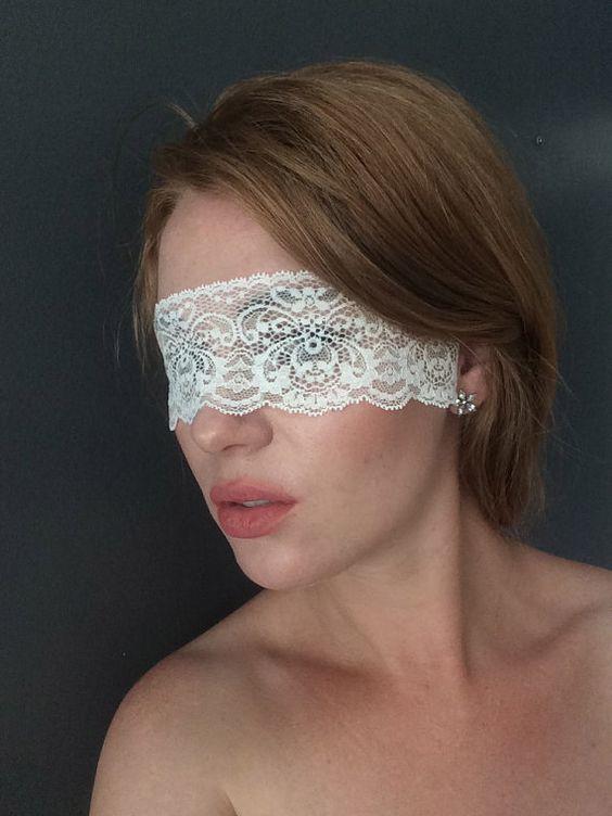 White Lace Mask  - White Lace Masquerade - White Lace Boudoir Blindfold