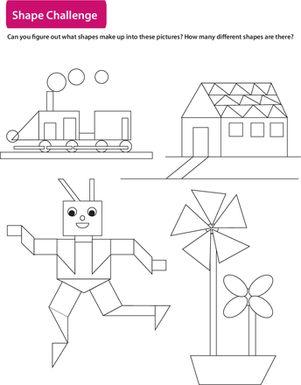 math worksheet : shape challenge find the different shapes!  worksheets  : Math Challenge Worksheets