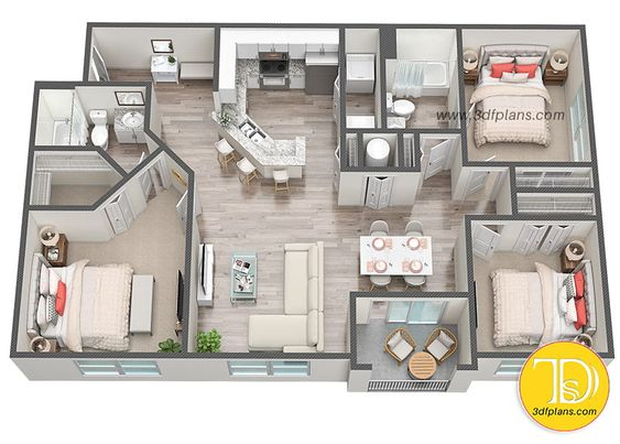 Denah Rumah Minimalis 3 Kamar Tidur 3D 24