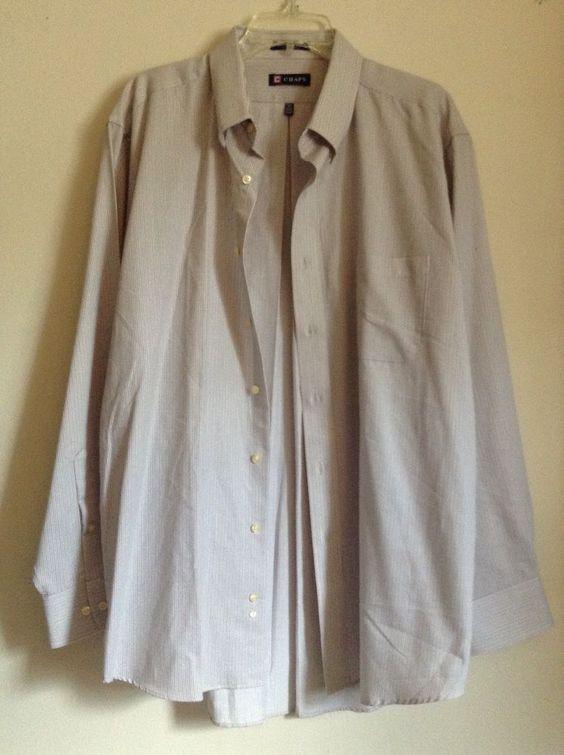 CHAPS RALPH LAUREN Mens Button-Up tan striped Casual Shirt 17-17 1/2 XL 34/35  #Chaps #ButtonFront