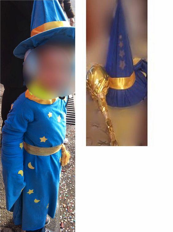 Fabriquer un déguisement de magicien comme Merlin pour Halloween ou Carnaval. Un superbe costume de magicien pour petit garçon ou petite fille à faire soi-même avec du tissu recyclé comme dans l'exemple avec un drap housse bleu roi en jersey.  Le personnage mythique de Brocéliande, un magicien légendaire, fascine, une bonne idée de déguisement pour Halloween ou Carnaval. Ce costume rayonne de légendes, de mystères, de magie qui enchantent petits et grands.