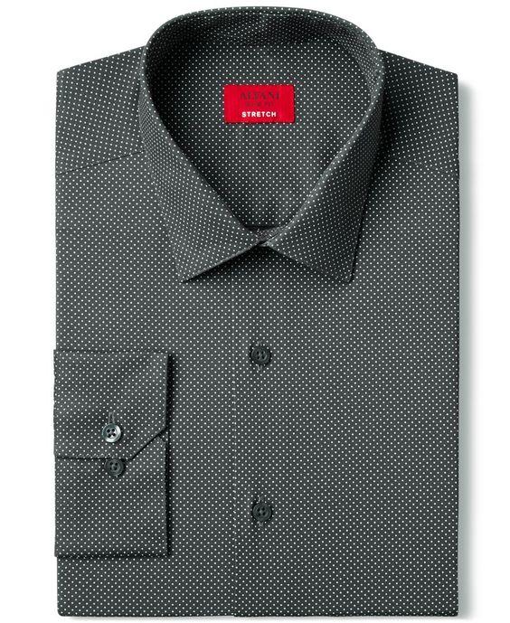 Alfani Spectrum Slim-Fit Charcoal Pindot Print Dress Shirt, Only at Macy's