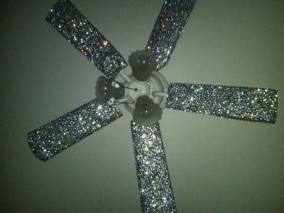 Glitter ceiling fan using modge podge!