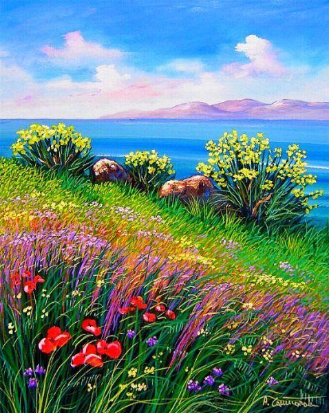 Primavera Con Ginestre A Cammarata Landscape Art Painting Landscape Paintings Landscape Art