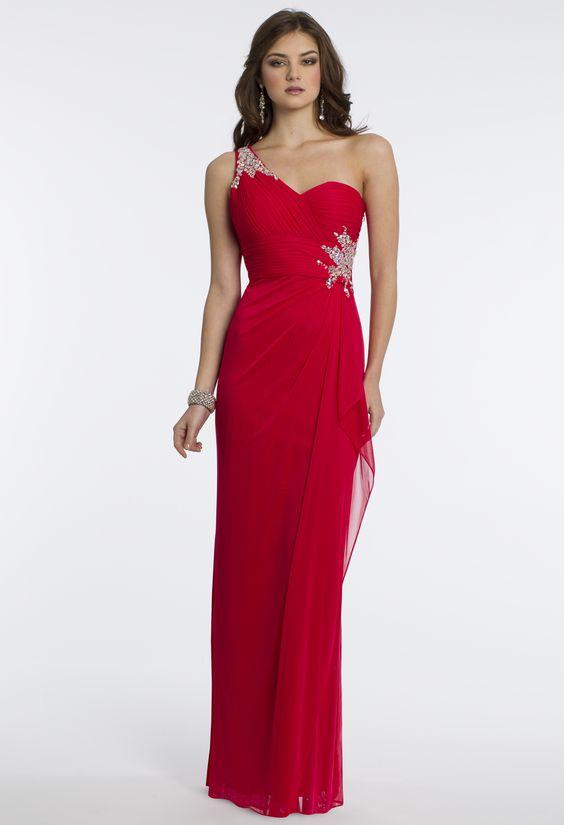 Camille La Vie One Shoulder Prom Dress with Back Sash