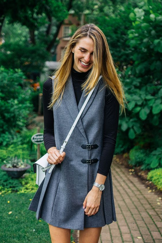 Marc by Marc Jacobs Lightweight Wool Tuxedo Pinafore Dress. The perfect dress for seasonal transitions; ideal for layered looks.