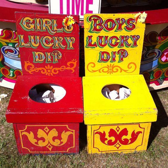 Lovely idea for your PTA/PTO Summer Fair - Fairground lucky dips boxes