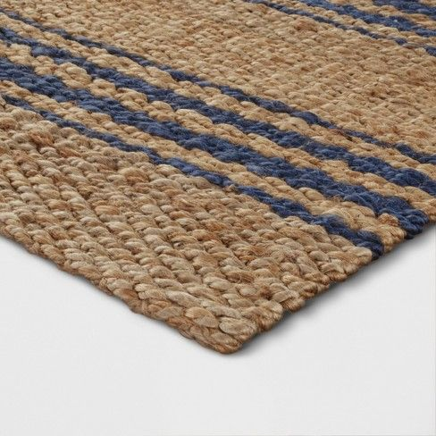 Navy Stripe Jute Woven Accent Rug 2 X3 Threshold Blue Striped Rug Rugs Accent Rugs