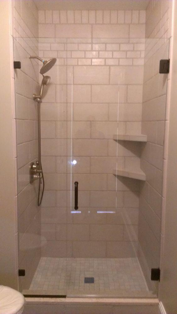 Bathroom Sleek White Tiled Corner Showers With Diagonal