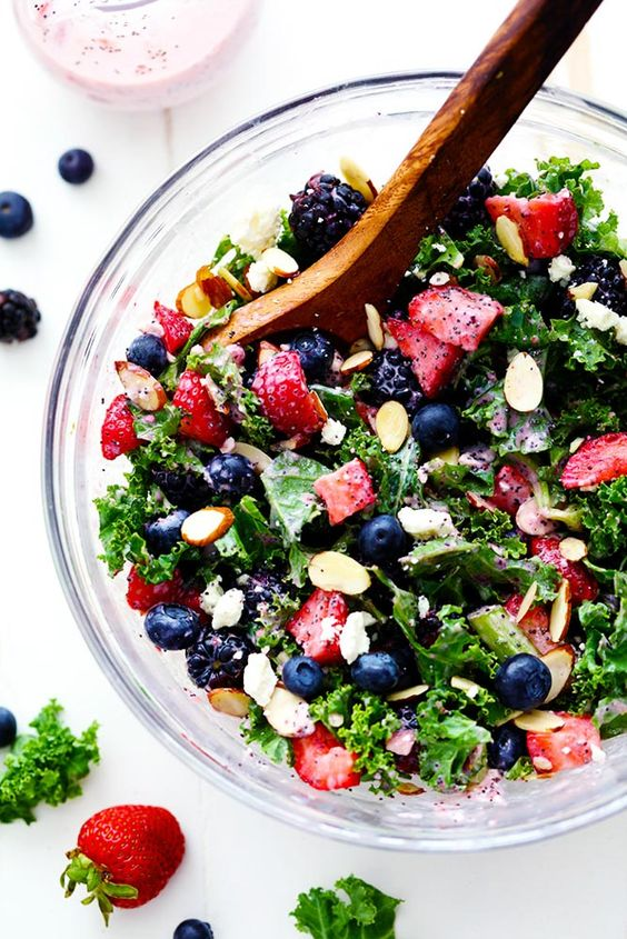 """Triple Berry Kale Salad with Creamy Strawberry Poppyseed Dressing Recipe 