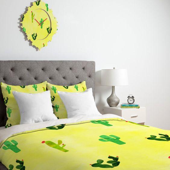 Hello Sayang Cactus Madnessa Duvet Cover   DENY Designs Home Accessories