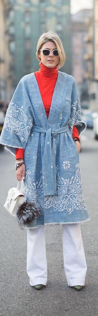 Milan Fashion Week street style: Sofie Valkiers in white jeans and a kimono coat