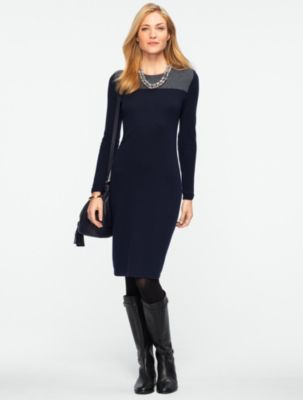 """<p class=""""MsoNormal"""">A classic sweater dress silhouette gets a modern update with colorblock detail. Crafted in our lofty, warm lambswool blended with nylon for long-lasting wear.</p>                  <ul><li><o:p></o:p>Scoopneck</li><li>Pulls on</li><li>Long sleeves</li><li>Length from shoulders: Misses 38?; Petite 35 3/4"""" (at the knee)</li><li>70% nylon/30% lambswool</li><li>Dry clean</li><li>Imported</li></ul>"""