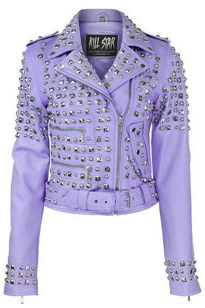 KILLSTAR Studded Leather Jacket LILAC Punk Isn\u0027t Dead