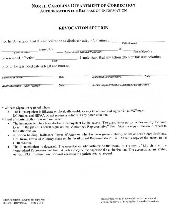 North Carolina Medical Records Release Form Download Free Printable Blank Legal Medical In 2020 Medical Records Department Of Corrections Protected Health Information