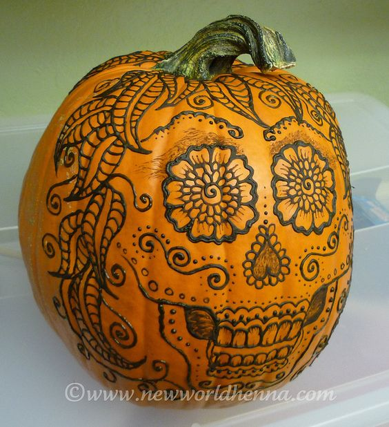 Henna Tattoo Pumpkin  Dia De Los Muertos Y Halloween Fusion  Pinterest  H
