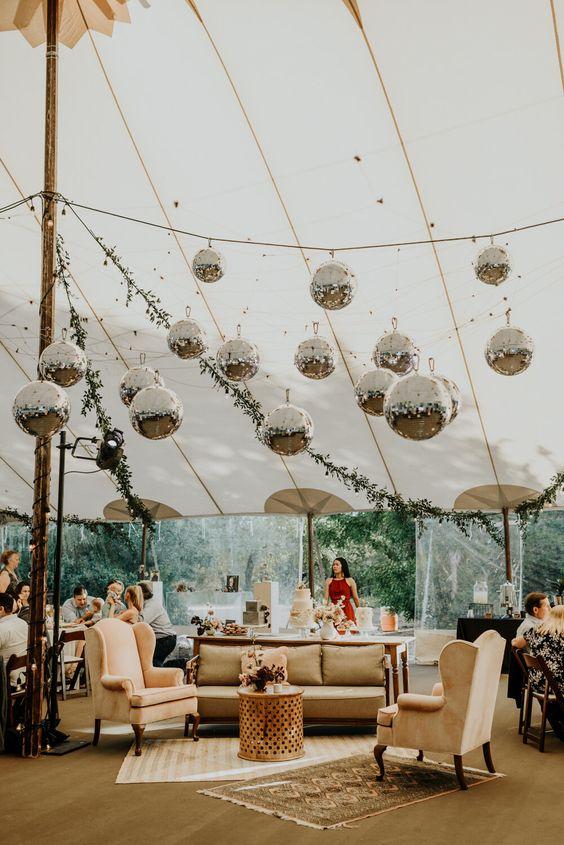 Trendy Modern Wedding Reception Disco Balls in Austin, Texas