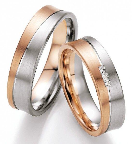 Rosegold Weißgold Eheringe Wunderschöne Eheringe aus Weißgold und Rosegold aus der Collection Ruesch. Only by Verlobungsring.de #love #wedding #beautiful:
