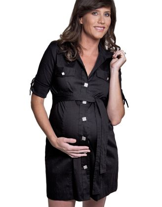 Maternité Black Button Front Shirt Dress  #maternity #fashion #pregnancy #style #minefornine