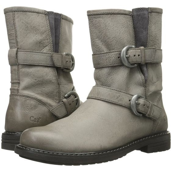 Caterpillar Casual Realist Hi (Dark Gull Grey) Women's Work Boots ($60) ❤  liked on Polyvore featuring shoes, boots, grey, slip on shoes, short heel…