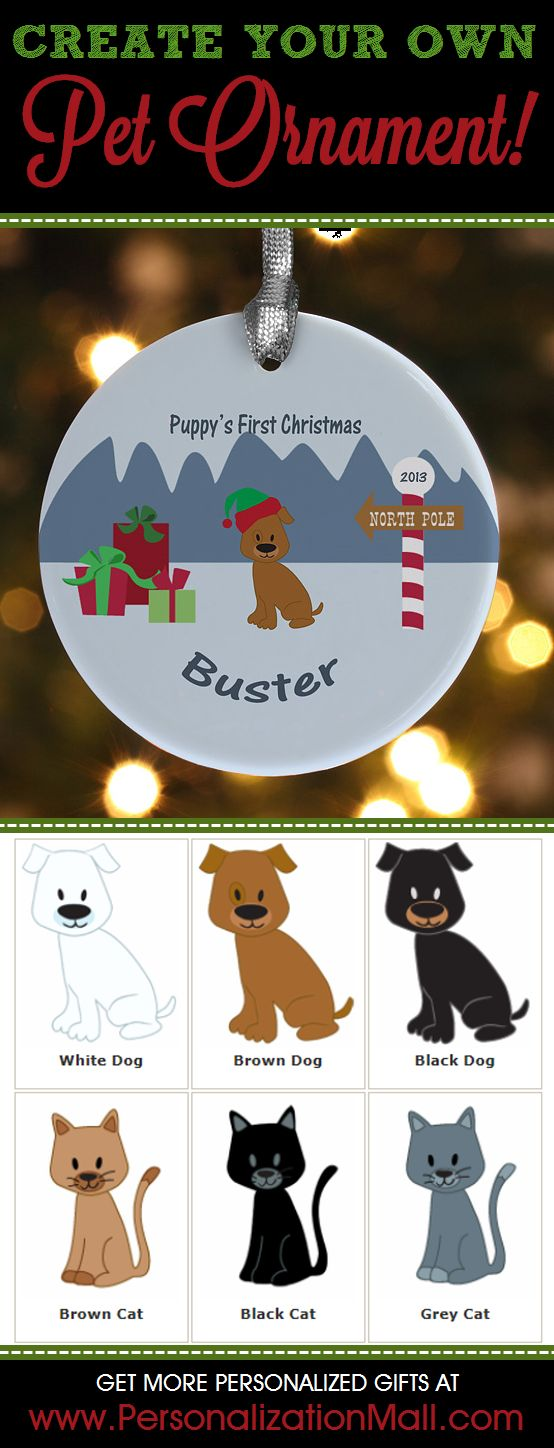 Awww! You can create your own Christmas Ornament for your pet! This site has tons of other great pet ornaments you can customize too - you have to check them out! #Ornament #Pet #Dog #Cat