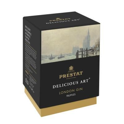 £12.00 - London Gin Truffles. A dark chocolate ganache is flavoured with gin and infused with lemon and juniper berries before being enrobed in creamy white chocolate. The secret ingredient is the fizz! #Truffles #FathersDay