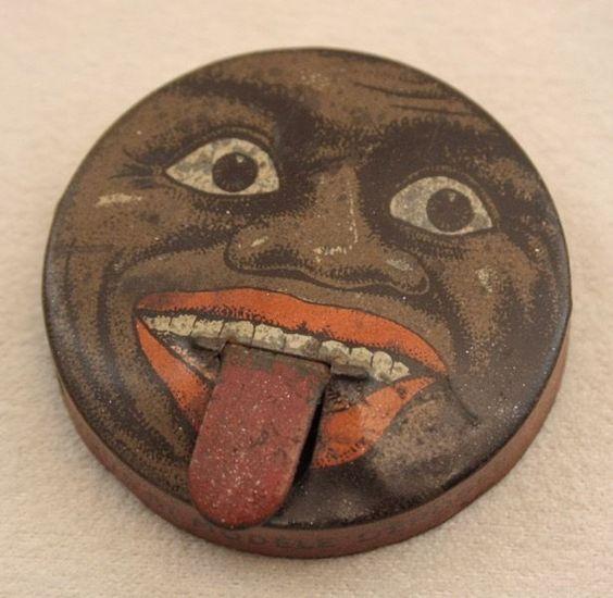 Boite tôle publicitaire miniature le Cachou le Negro langue amovible cirque 1930