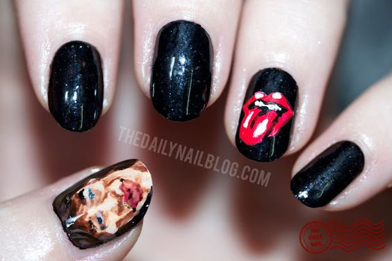 I Can't Get No... Satisfaction?      My nail art to commemorate the Rolling Stones' 50th anniversary!